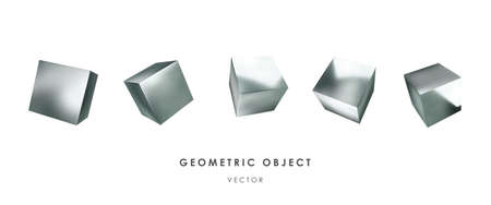 3d silver cubes on white background. Realistic design elements, three-dimensional objects. Metallic texture. Vector.