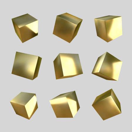 3d golden cubes on white background. Realistic design elements, three-dimensional objects. Metallic texture. Vector. Illusztráció
