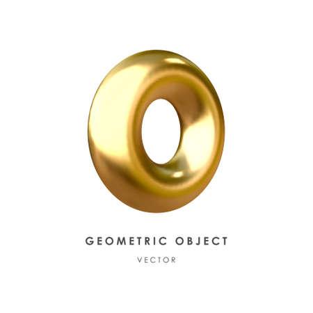 3d golden torus on white background. Realistic design element, three-dimensional object. Metallic texture. Vector. Illusztráció