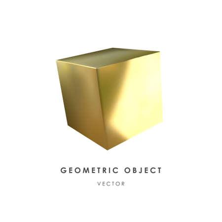 3d golden cube on white background. Realistic design element. Vector. Illusztráció