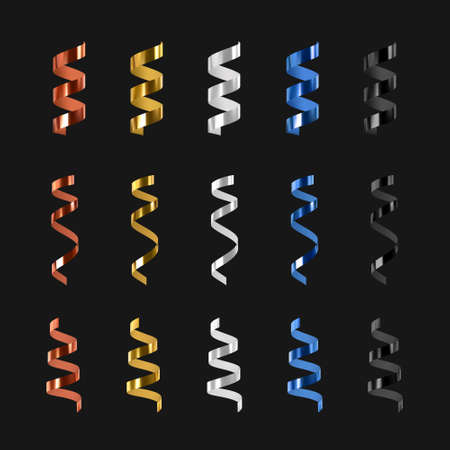 Vector 3d glossy realistic serpentine. Colorful design elements. Vector. Illusztráció