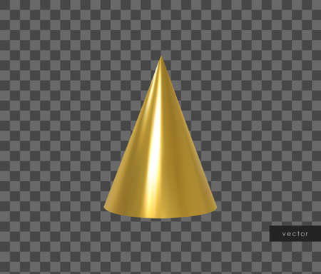 3d geometric object. Isolated metallic gold cone. Vector.