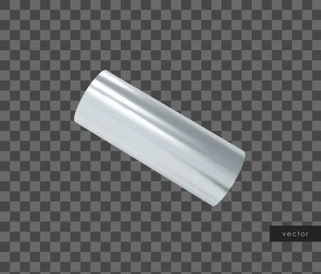 3d geometric object. Isolated metallic silver shape. Vector.