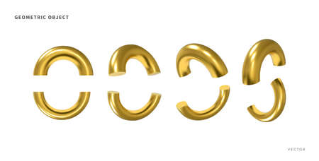 3d realistic geometric objects. Isolated metallic gold shapes. Vector.