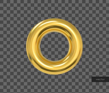 3d geometric object. Isolated metallic gold torus. Vector.