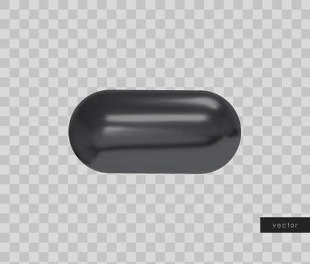 3d geometric object. Isolated black shape. Vector. Illusztráció