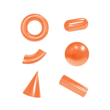 3d geometric objects. Isolated metallic shapes. Vector.