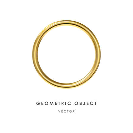 3d golden ring on white background. Realistic design element, three-dimensional object. Metallic texture. Vector.