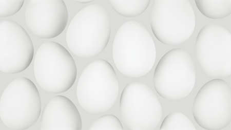 Minimalistic 3d background with white eggs. Abstract realistic background. Vector.