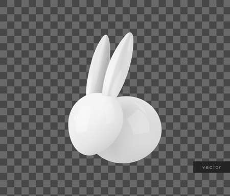 White ceramic Easter bunny. Decorative realistic object for Easter Day. Vector.