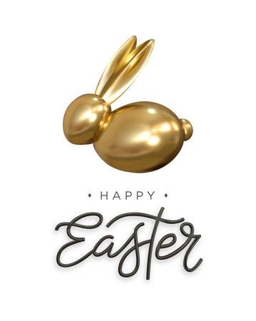 Happy Easter. Golden Easter bunny. Easter poster, card, banner. Vector. Illusztráció