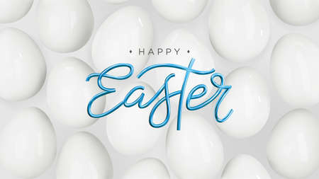 Happy Easter. Minimalistic 3d background with white eggs. Abstract realistic background. Vector. Illusztráció