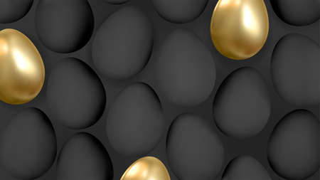 Abstract 3d background with realistic golden and black eggs. Vector.