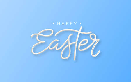 Happy Easter 3d lettering inscription. Easter decorative calligraphy. Vector.