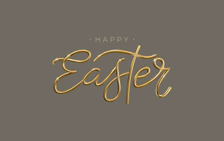 Happy Easter 3d golden lettering inscription. Easter decorative gold calligraphy. Vector.