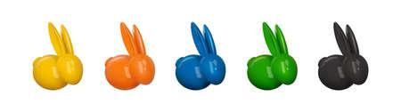 Vector ceramic Easter bunny set. Decorative realistic object for Easter Day. Illusztráció