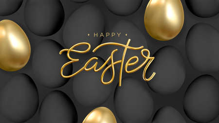 Happy Easter. Abstract background with realistic golden and black eggs. 3d gold Happy Easter inscription. Vector. Illusztráció