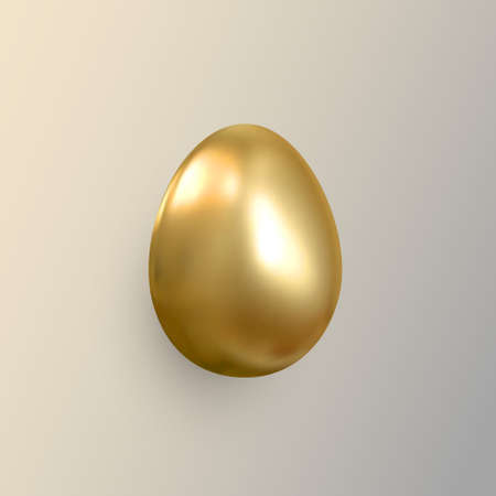 Realistic golden metallic egg. Gold 3d isolated design element. Vector.