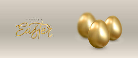 Happy Easter. Realistic 3d banner with golden eggs. Vector.