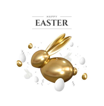 Happy Easter. Realistic 3d golden bunny and eggs. Easter decorative objects. Vector.