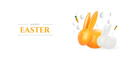 Happy Easter. Realistic 3d bunny and eggs on white background. Easter decoration. Vector.