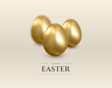 Happy Easter. Realistic 3d background with golden eggs. Vector. Illusztráció