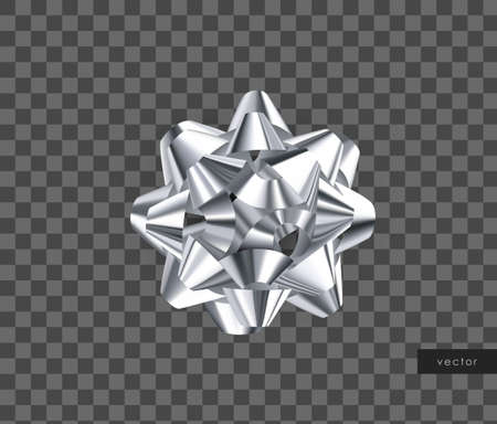 Silver gift bow. Realistic decorative bow. Isolated design element. Vector.