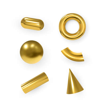 3d geometric objects. Isolated metallic gold shapes. Vector.