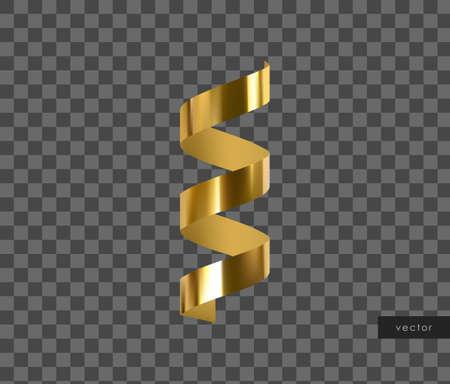 3d gold glossy realistic serpentine. Golden design element. Vector.