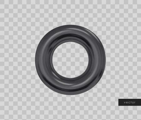 3d geometric object. Isolated black torus. Vector.