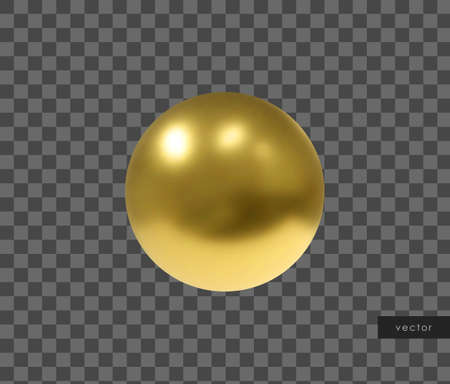 3d geometric object. Isolated metallic gold sphere. Vector.
