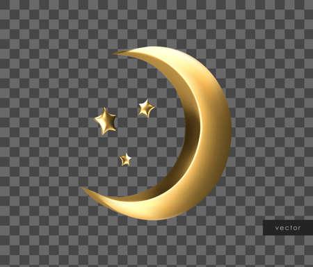 Ramadan golden symbol. Realistic 3d gold crescent and stars. Vector. Illusztráció
