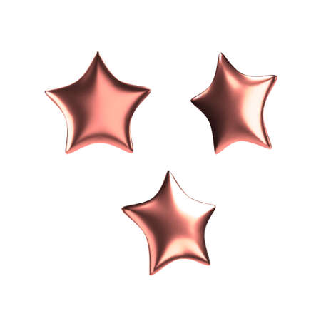 3d red star. Realistic glossy isolated object. Vector.