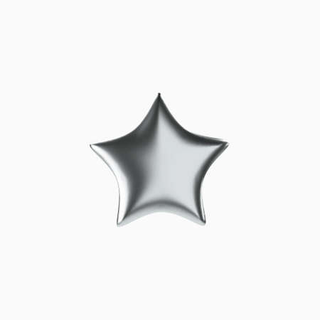3d silver star. Realistic silver isolated object. Vector.