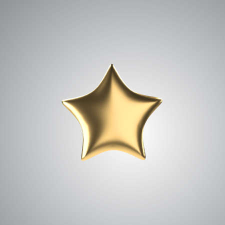 3d golden star. Realistic gold isolated object. Vector.