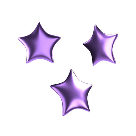 3d purple star. Realistic glossy isolated object. Vector.