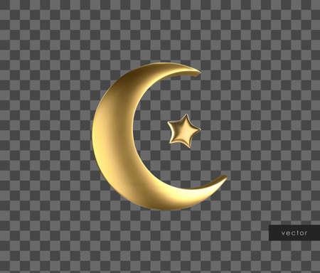 Ramadan golden symbol. Realistic 3d gold crescent and star. Vector.