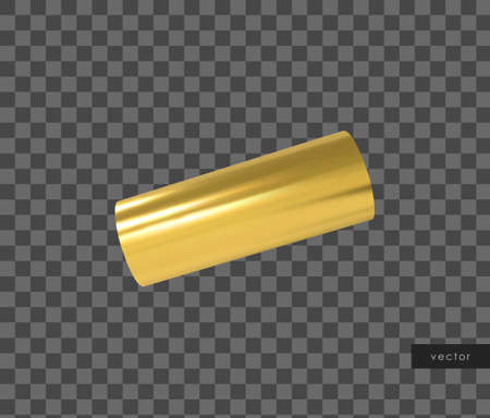 3d geometric object. Isolated metallic gold shape. Vector.