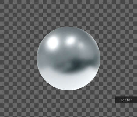 3d geometric object. Isolated metallic silver sphere. Vector.