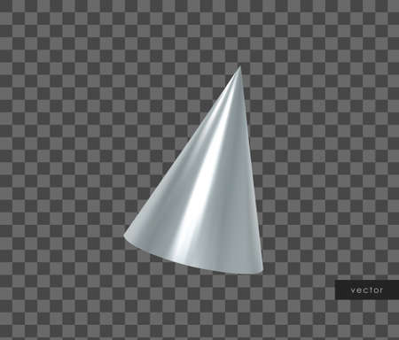3d geometric object. Isolated metallic silver cone. Vector.