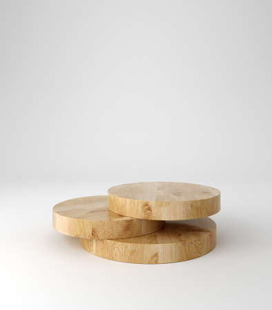 Wooden pedestal podium, round shape, product stand, 3d rendering.