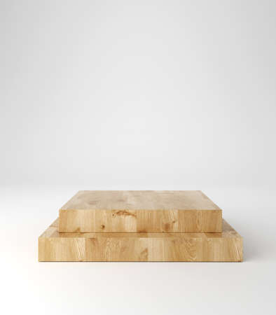 Wooden pedestal podium, square shape, product stand, 3d rendering. Stockfoto