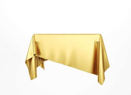 Golden silky cloth pedestal podium. Gold cloth. 3d rendering.
