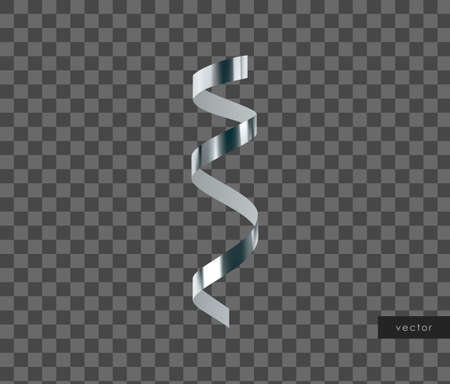 3d glossy realistic silver serpentine. Vector.