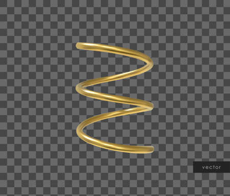 3d realistic geometric object. Isolated metallic gold shape. Vector. Stock Illustratie