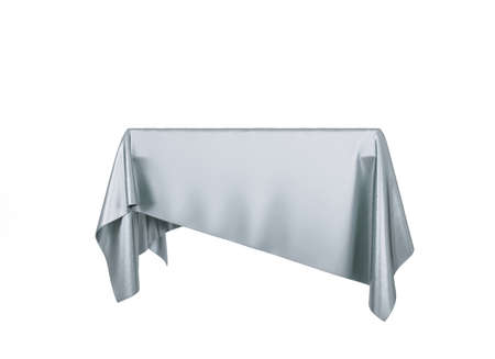 Silver silky cloth pedestal podium isolated on white background. 3d rendering.