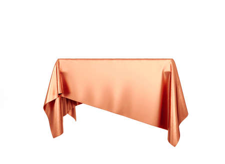 Red silky cloth pedestal podium isolated on white background. 3d rendering.