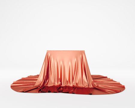 Red silky cloth pedestal podium. 3d rendering.