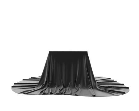 Black silky cloth pedestal podium isolated on white background. 3d rendering. Stockfoto