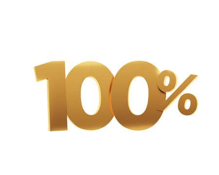 Golden one hundred percent on white background. 3d render illustration.